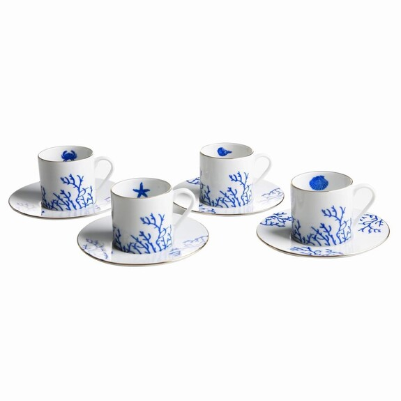 ZM DECOR - Mercan Blue 4-Person Turkish Coffee Set
