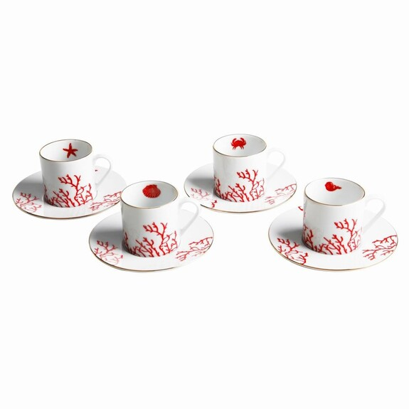 ZM DECOR - Mercan Red 4-Person Turkish Coffee Set