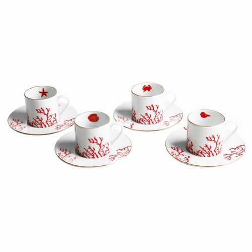 Mercan Red 4-Person Turkish Coffee Set