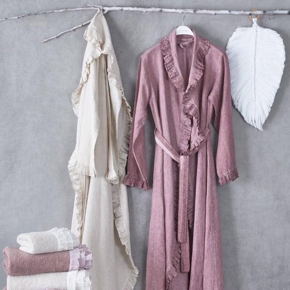 ECOCOTTON - Miranda Beige Linen Morning Gown