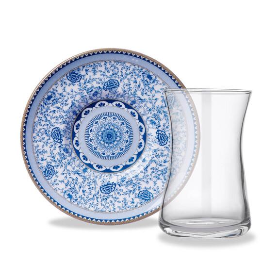 KORKMAZ - Natura Blue 6-Person Turkish Tea Set