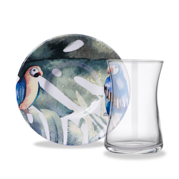 KORKMAZ - Natura Parrot 6-Person Turkish Tea Set