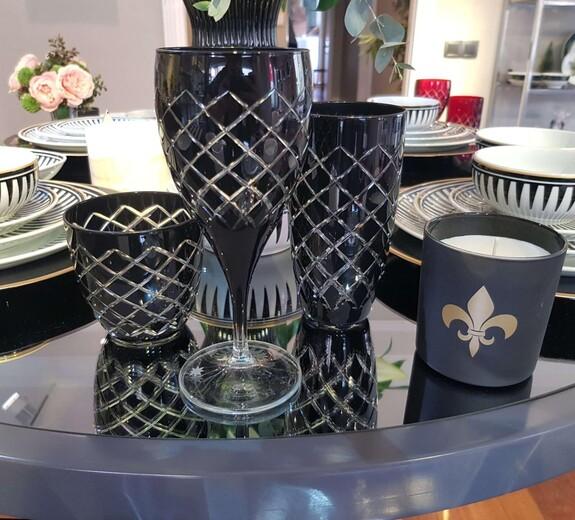 Nila Black 6pc Water Glass Set - Large - Thumbnail