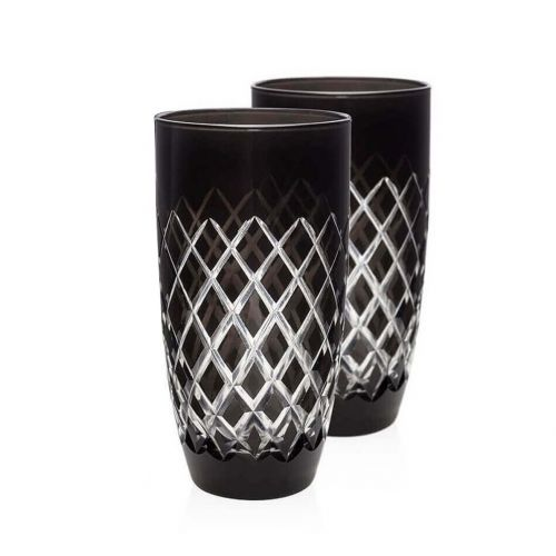 Nila Black 6pc Water Glass Set - Large