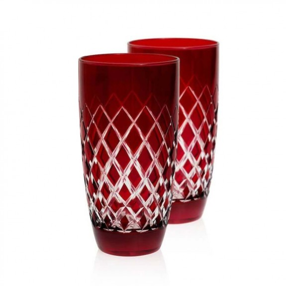 ZM DECOR - Nila Red 6pc Water Glass Set - Large