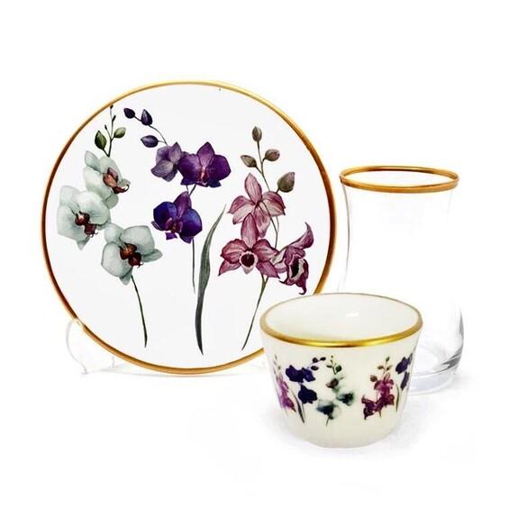 TOYGAR - Orchid 6-Person Turkish Tea + Arabic Coffee Set
