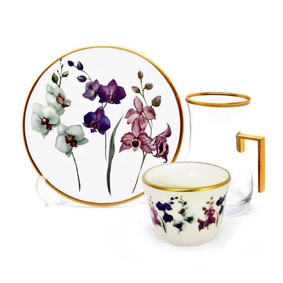 TOYGAR - Orchid Handle 6-Person Turkish Tea + Arabic Coffee Set