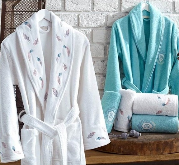 DANTELA - Oriel 6-Piece Bathrobe Family Set - M/L