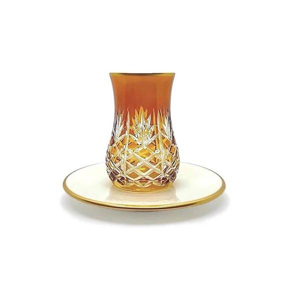 TOYGAR - Pineapple Amber 6-Person Turkish Tea Set