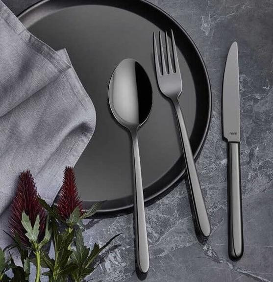 NARIN - Pladies Anthracite 18pc / 42pc Cutlery Set
