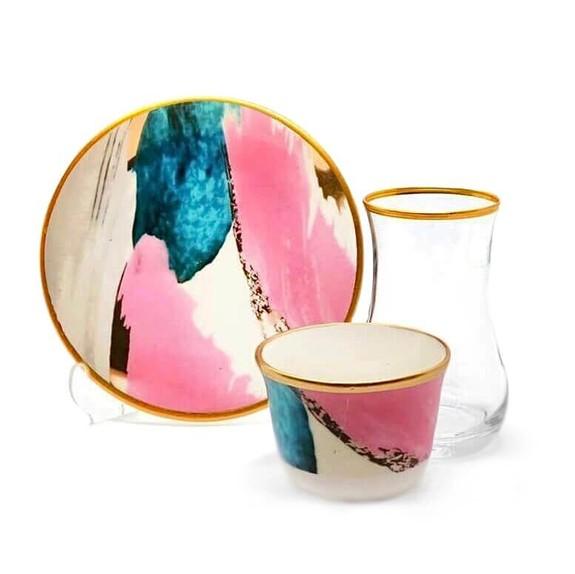 TOYGAR - Watercolor 6-Person Turkish Tea + Arabic Coffee Set