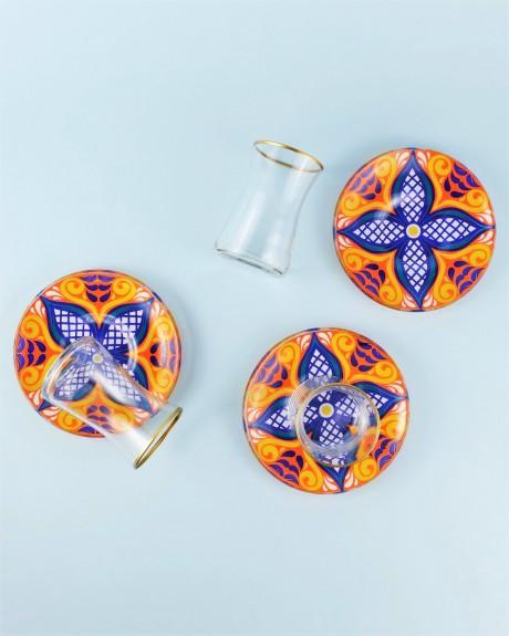 .Sade Flower 6-Person Turkish Tea Set - Thumbnail