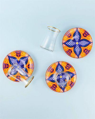 .Sade Flower 6-Person Turkish Tea Set