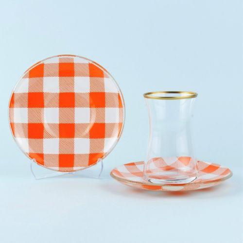 .Sade Orange 6-Person Turkish Tea Set