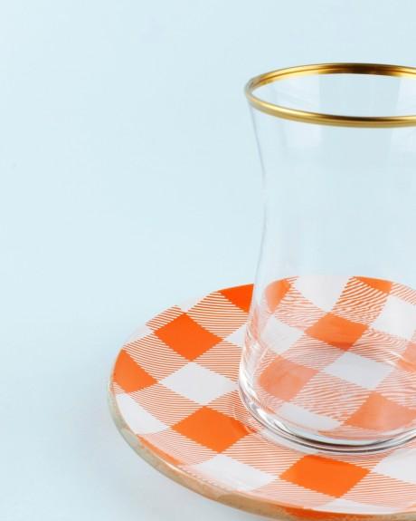 .Sade Orange 6-Person Turkish Tea Set - Thumbnail