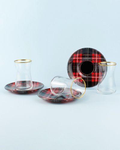 .Sade Tartan 6-Person Turkish Tea Set