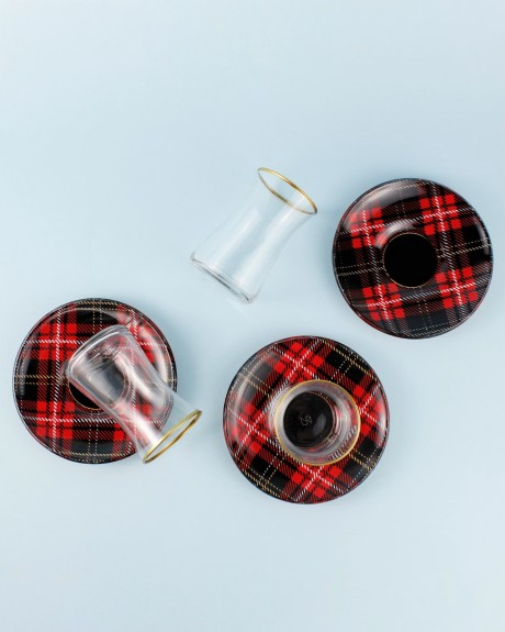 .Sade Tartan 6-Person Turkish Tea Set - Thumbnail