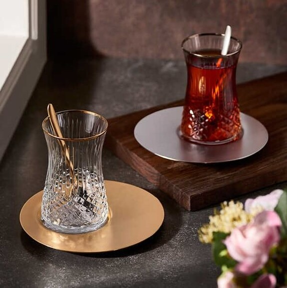 NARIN - ''Saturn Crystal 19pc Turkish Tea Set