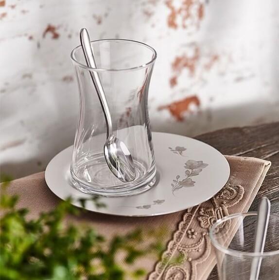 NARIN - Saturn Flowery Matt Silver 19pc Turkish Tea Set