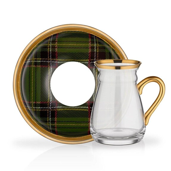 GLORE - Scottish Green Handle 6-Person Turkish Tea Set