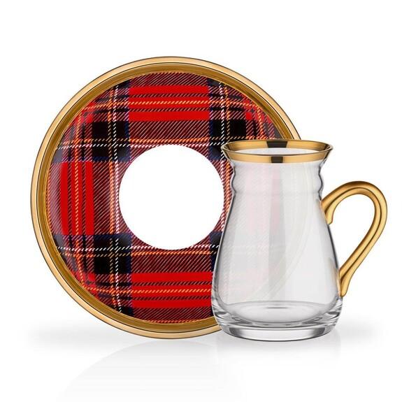 GLORE - Scottish Red Handle 6-Person Turkish Tea Set