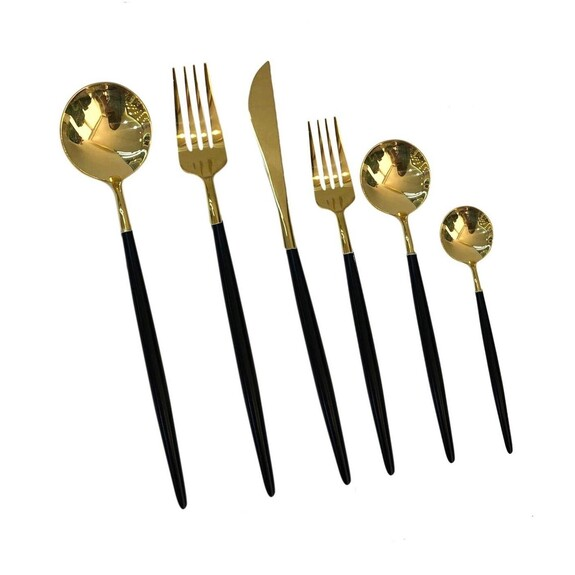 PINK&MORE - P&M Shiny Gold Black 36-Piece Cutlery Set