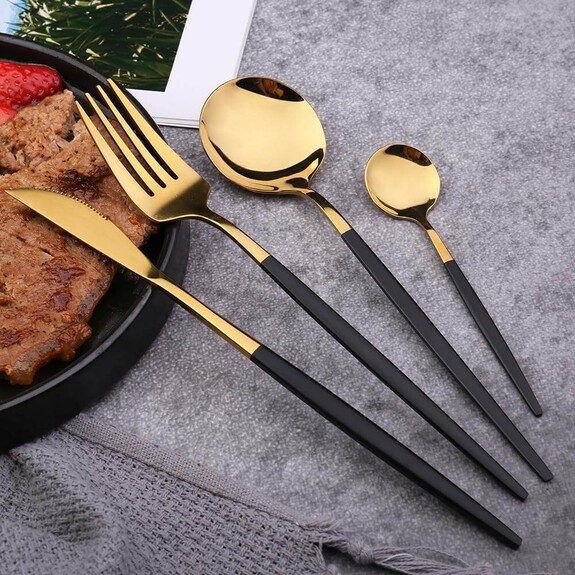 P&M Shiny Gold Black 36-Piece Cutlery Set - Thumbnail