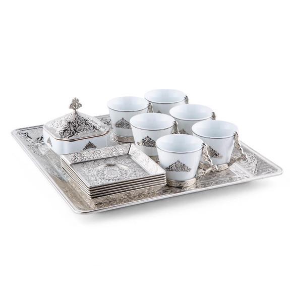 NEHIR - Silver Pyramid 6-Person Ottoman Coffee Set