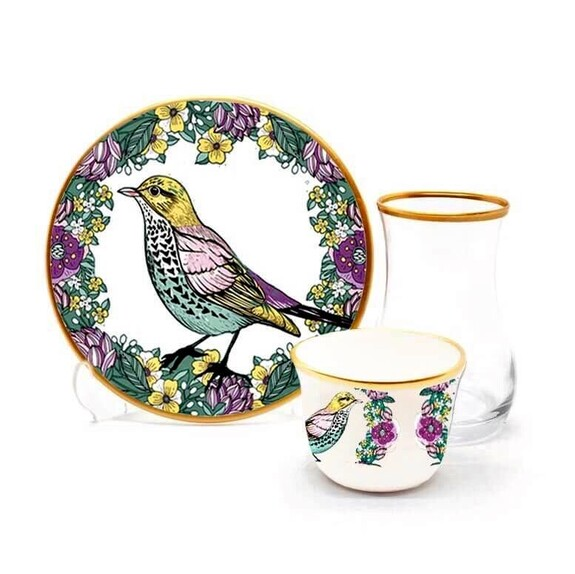 TOYGAR - Sparrow 6-Person Turkish Tea + Arabic Coffee Set