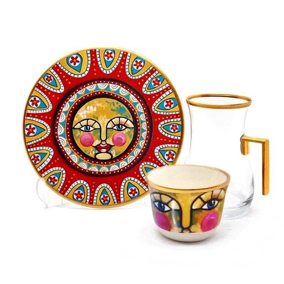 TOYGAR - Sun Handle 6-Person Turkish Tea + Arabic Coffee Set