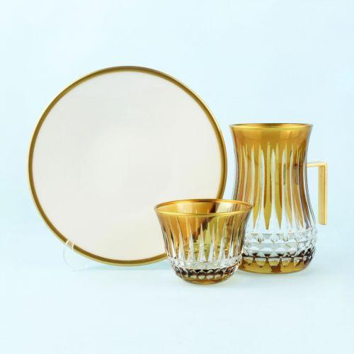 .'TG Budai Amber Handle 18pc Tea + Arabic Coffee Set
