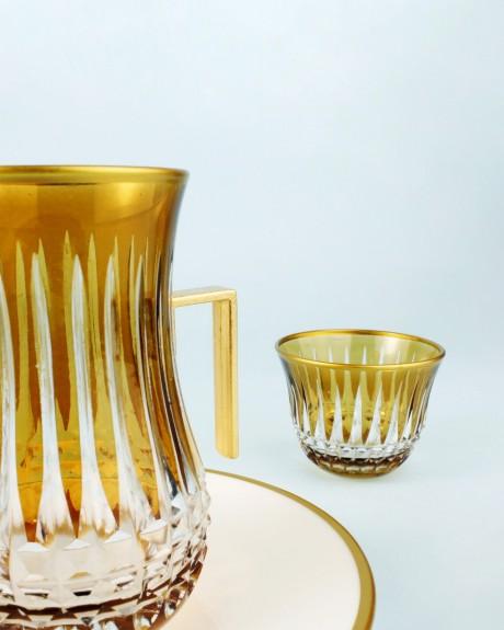 .'TG Budai Amber Handle 18pc Tea + Arabic Coffee Set - Thumbnail