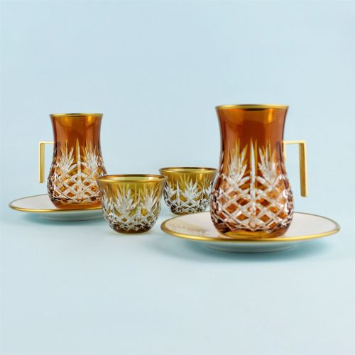'TG Pineapple Amber Handle 18pc Tea + Arabic Coffee Set