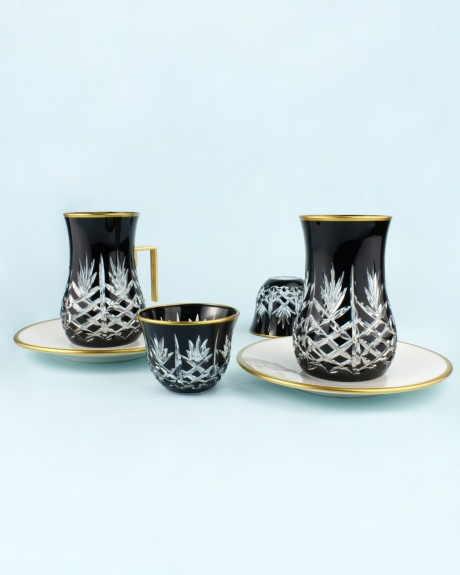 .'TG Pineapple Black 18pc Tea + Arabic Coffee Set - Thumbnail