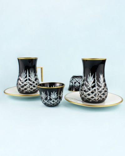 .'TG Pineapple Black Handle 18pc Tea + Arabic Coffee Set