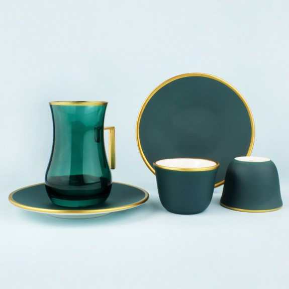 TOYGAR - 'TG Tutti Green Handle 18pc Tea + Arabic Coffee Set