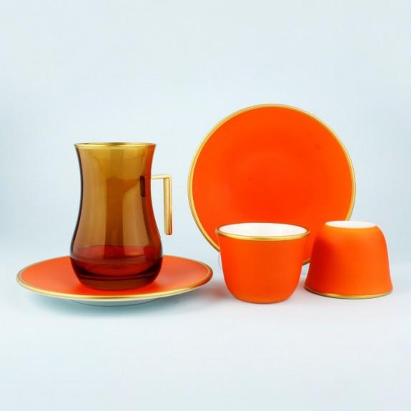 TOYGAR - 'TG Tutti Orange Handle 18pc Tea + Arabic Coffee Set