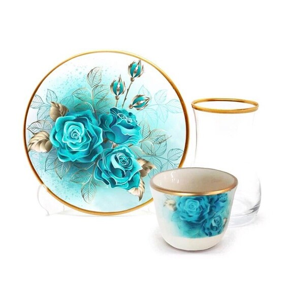 TOYGAR - Turquoise Rose 6-Person Turkish Tea + Arabic Coffee Set