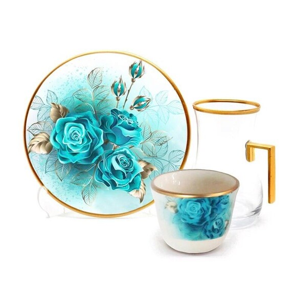 TOYGAR - Turquoise Rose Handle 6-Person Turkish Tea + Arabic Coffee Set