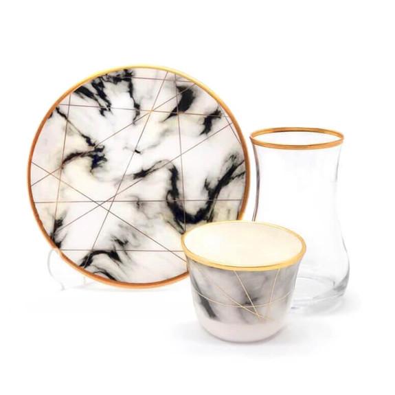 TOYGAR - White Marble 6-Person Turkish Tea + Arabic Coffee Set