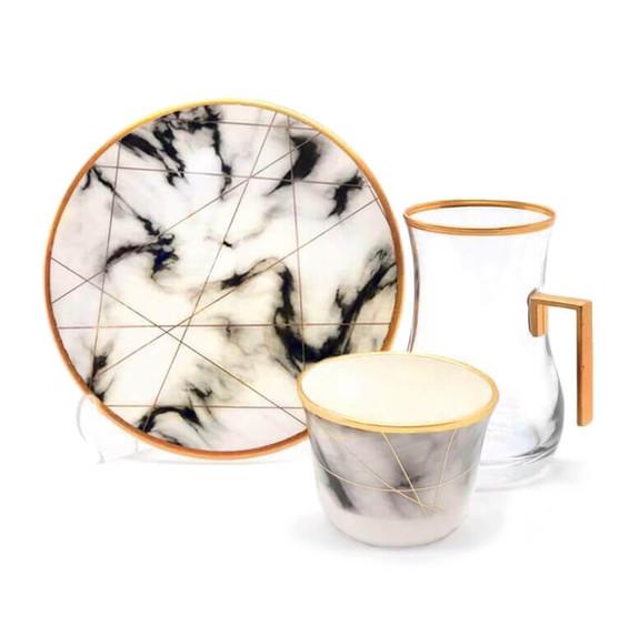 TOYGAR - White Marble Handle 6-Person Turkish Tea + Arabic Coffee Set