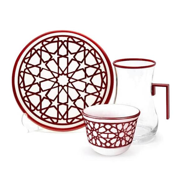TOYGAR - Yildiz Copper Handle 6-Person Turkish Tea + Arabic Coffee Set
