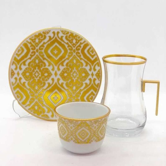 TOYGAR - Zeyrek Handle 6-Person Turkish Tea + Arabic Coffee Set